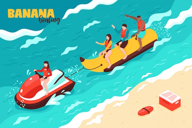 Sommer wassersport isometrisch mit gruppe von menschen im urlaub auf bananenboot fahren Kostenlosen Vektoren