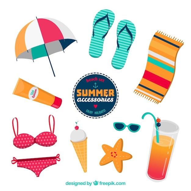Sommer-zubehör Kostenlosen Vektoren