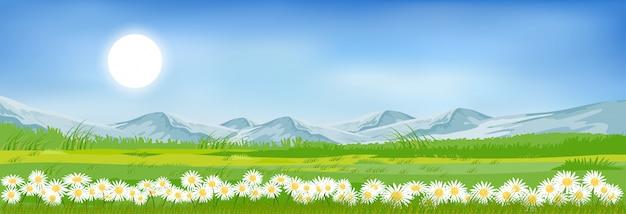 Sommerberglandschaft mit blauem himmel und wolken Premium Vektoren