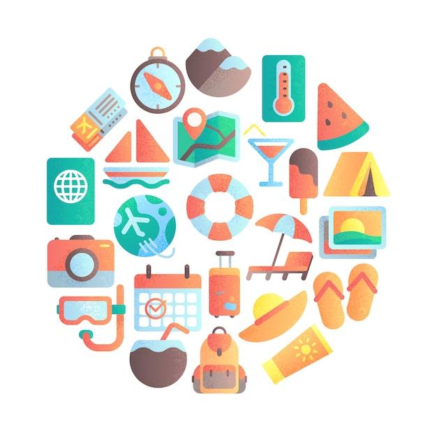 Sommerberufungssymbol. reiseurlaub, reisegepäck und flache ikonenillustration des sommerstrandschirms Premium Vektoren