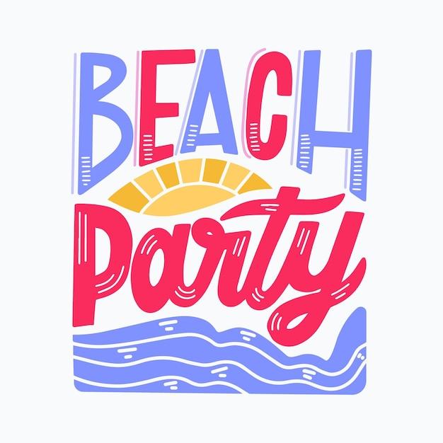 Sommerbeschriftung mit strandparty Kostenlosen Vektoren