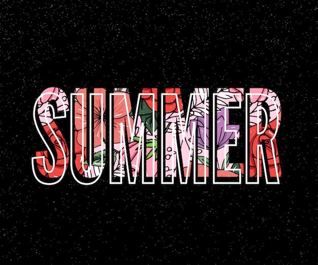 Sommerbeschriftung mit tropischer blumenillustration Premium Vektoren
