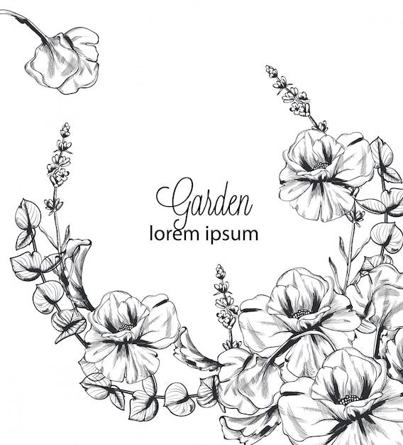 Sommerblumen-kranzlinie kunsthintergrund Premium Vektoren