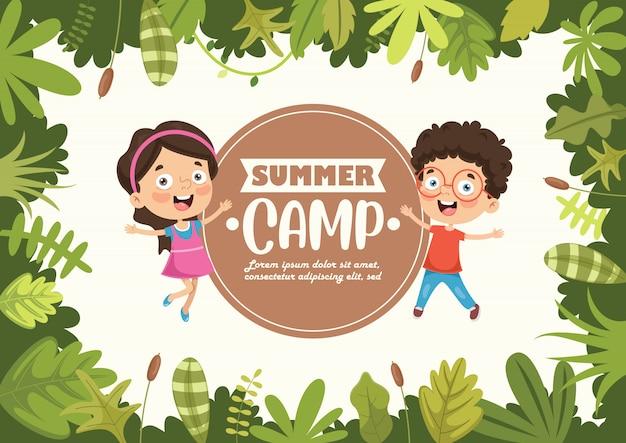 Sommercamp kids mit natürlichem rahmen Premium Vektoren
