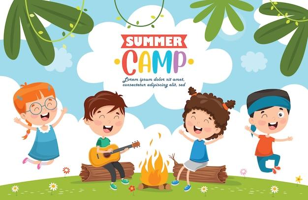 Sommercamp kinder Premium Vektoren
