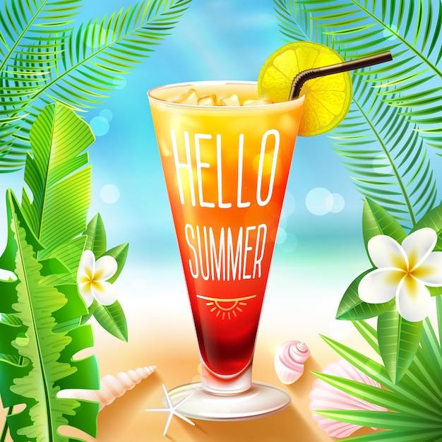 Sommerdesign mit cocktail Kostenlosen Vektoren