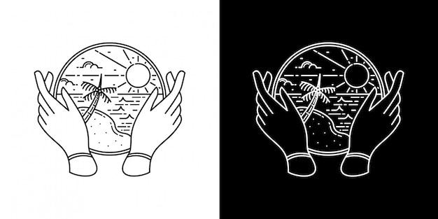 Sommerdesign mit hand monoline design Premium Vektoren