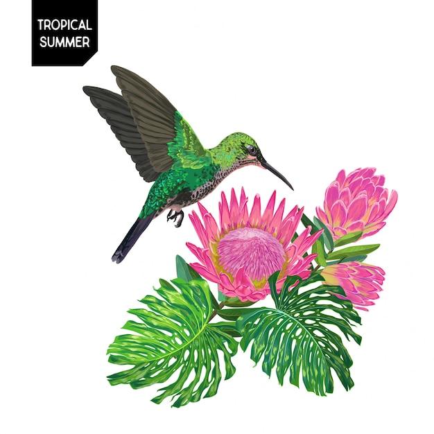 Sommerentwurf mit kolibri und blumen Premium Vektoren