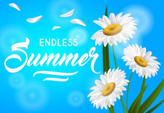 Sommerfahne des endlosen sommers mit kamille blüht auf himmelblauhintergrund. Kostenlosen Vektoren