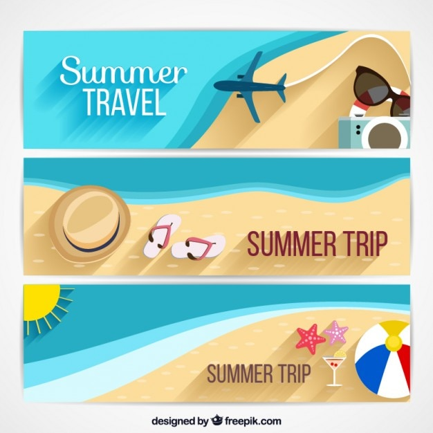 Sommerferien-banner-design Kostenlosen Vektoren