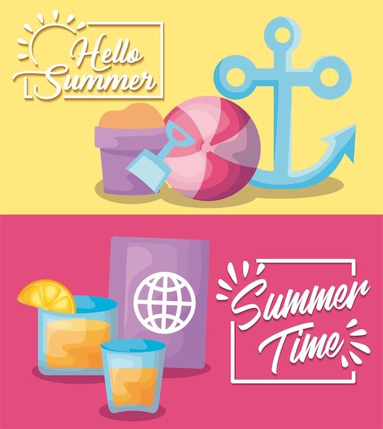 Sommerferien banner mit anker und reisepass Kostenlosen Vektoren