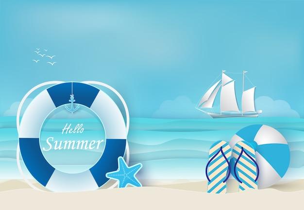 Sommerferien blauen hintergrund Premium Vektoren