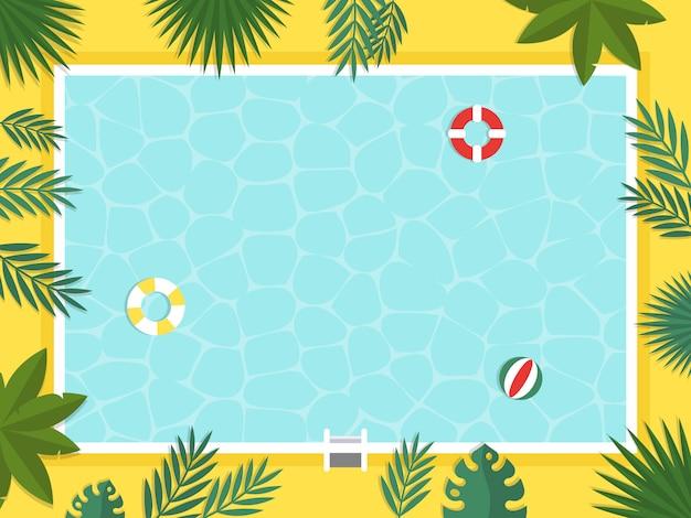 Sommerferien, draufsicht swimmingpoolvektor Premium Vektoren