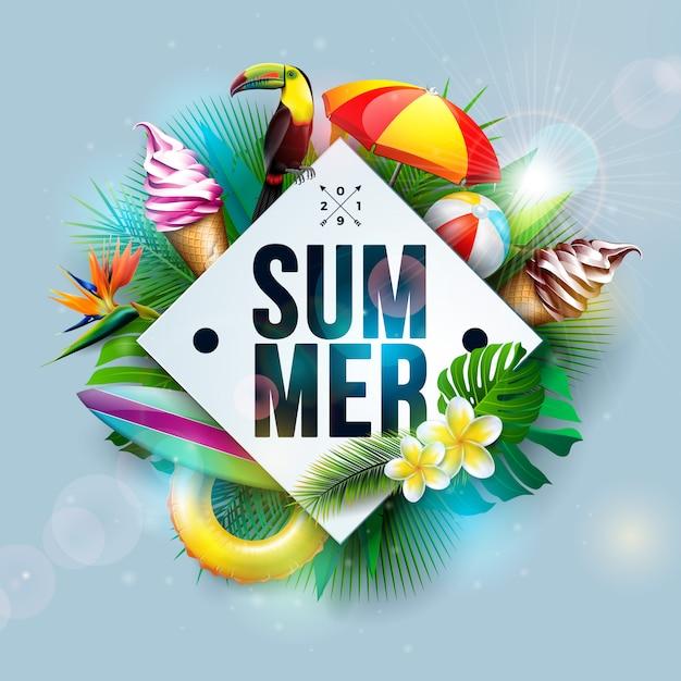 Sommerferien-illustration mit tukan-vogel und eiscreme Premium Vektoren