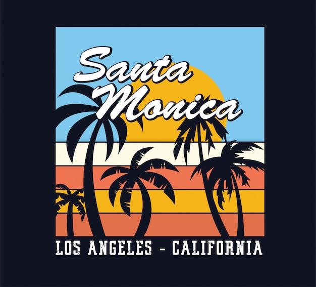 Sommerferien in santa monica, los angeles kalifornien Premium Vektoren