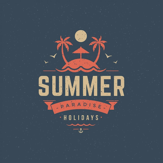 Sommerferien label oder abzeichen typografie slogan design Premium Vektoren
