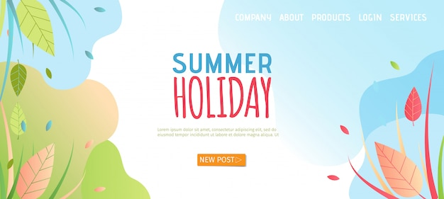 Sommerferien-landing page im flachen stil. Premium Vektoren
