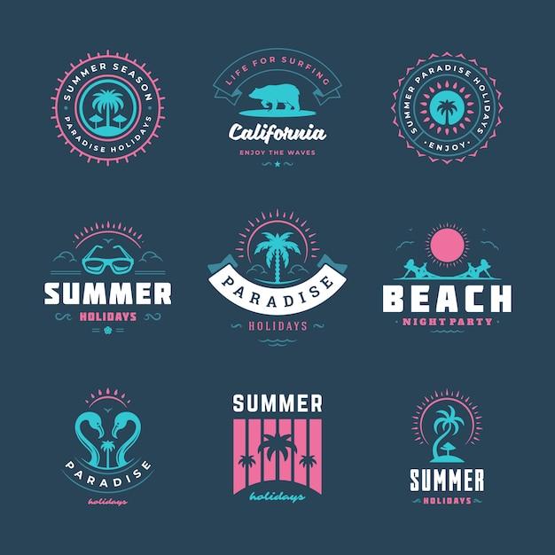 Sommerferien-logo festgelegt Premium Vektoren