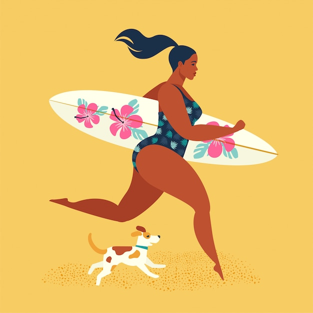 Sommerferien. mädchensurfer, der mit einem hund läuft. Premium Vektoren