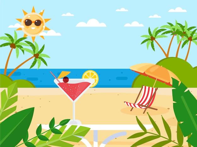 Sommerferien mit cocktail Premium Vektoren