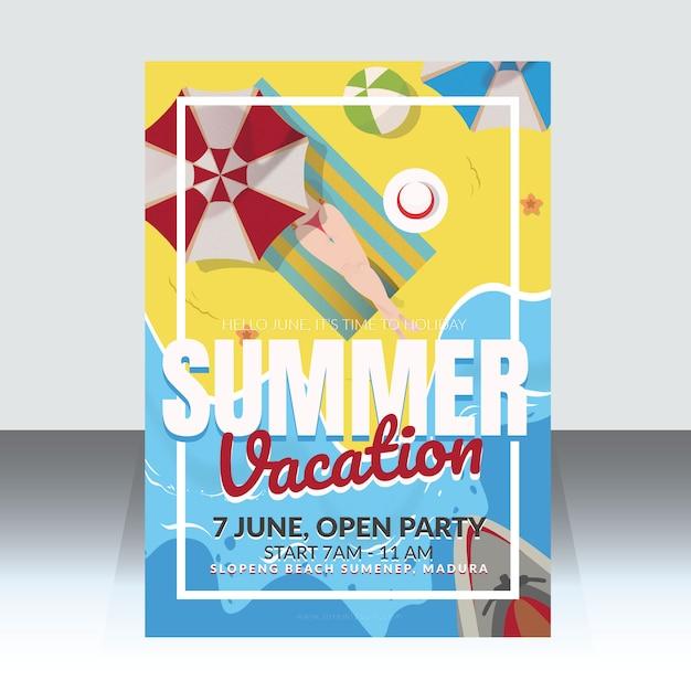 Sommerferien plakat vorlage Premium Vektoren