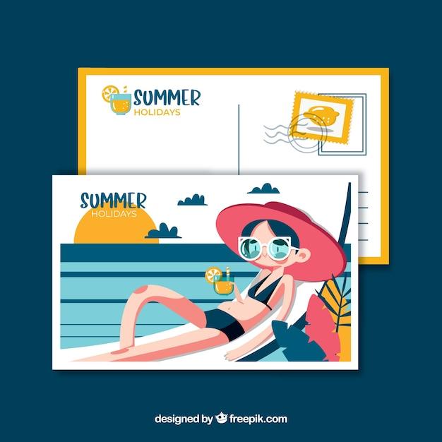 Sommerferien postkarte vorlage Kostenlosen Vektoren
