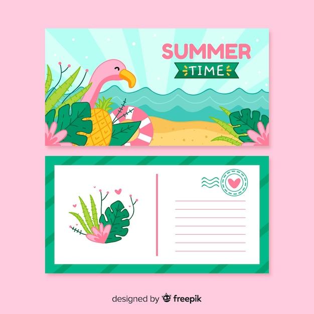 Sommerferien-postkarte Kostenlosen Vektoren