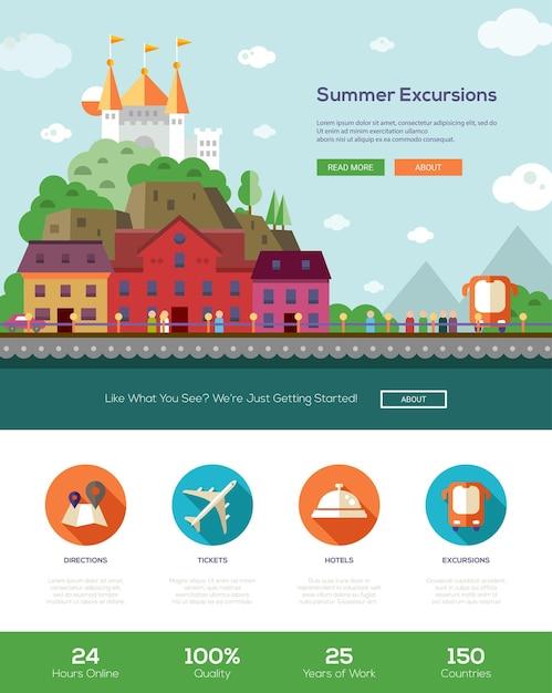 Sommerferien reisetouren, exkursionen website-vorlage Premium Vektoren