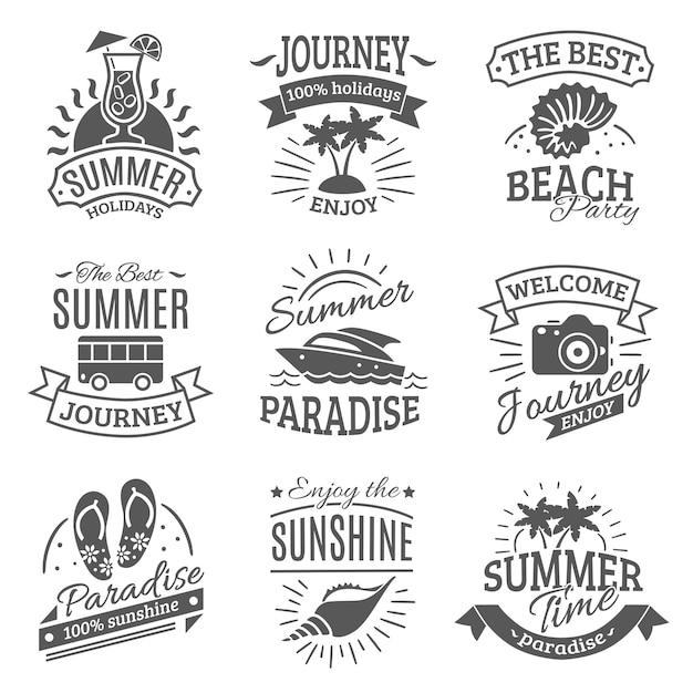 Sommerferien schwarze etiketten gesetzt Kostenlosen Vektoren
