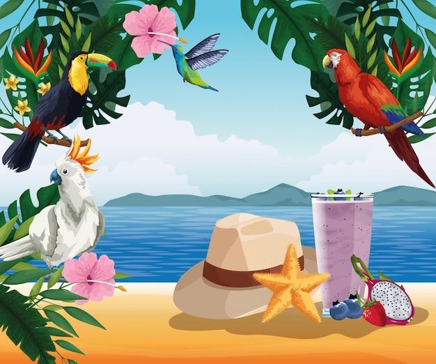 Sommerferien und strand im cartoon-stil Kostenlosen Vektoren