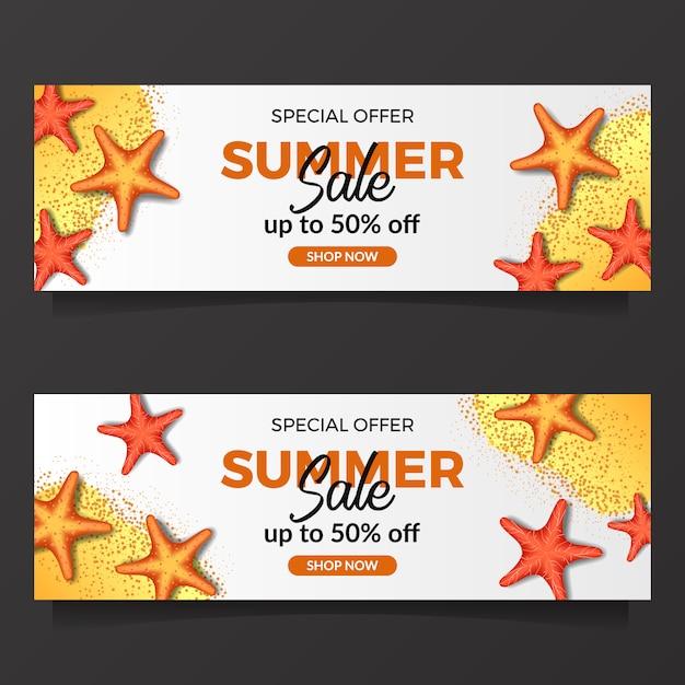 Sommerferien verkauf banner vorlage Premium Vektoren