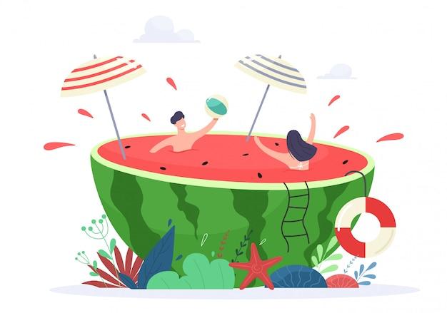 Sommerferien vibe konzept illustration. winzige menschen genießen es, sich zu entspannen und in einer saftigen wassermelone zu schwimmen. Premium Vektoren