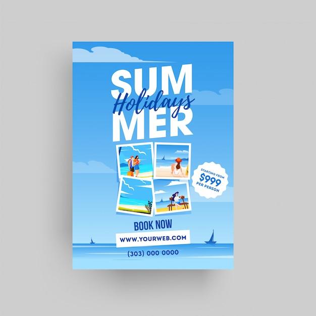 Sommerferien-website vorlage oder flyer design auf meerblick Premium Vektoren