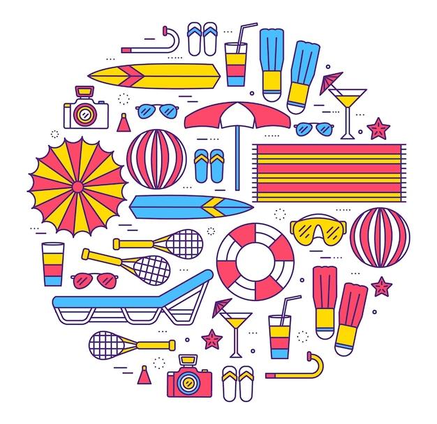 Sommerferienkreis-konzept im stilentwurf der dünnen linien Premium Vektoren
