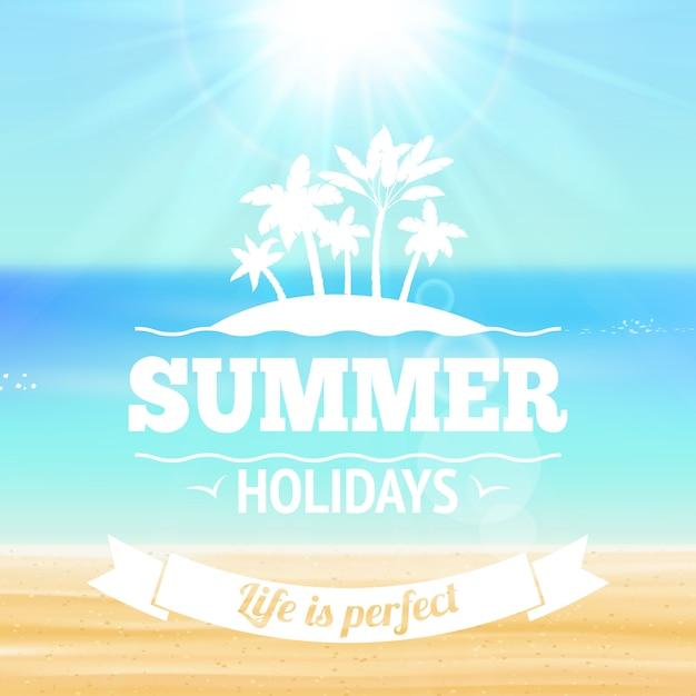 Sommerferienleben ist perfekte beschriftung mit illustration des sandigen strandes der palmen und des seevektors Kostenlosen Vektoren