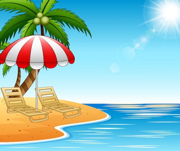Sommerferienliegen auf wunderschöner seelandschaft Premium Vektoren