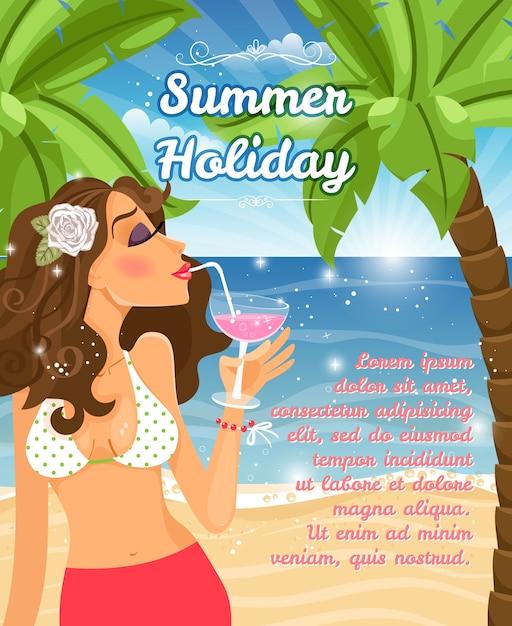 Sommerferienplakatvektorentwurf mit einer schönen jungen frau, die einen cocktail an einem strand mit tropischen palmen und einem blauen ozean nippt, der im sonnenschein funkelt Kostenlosen Vektoren
