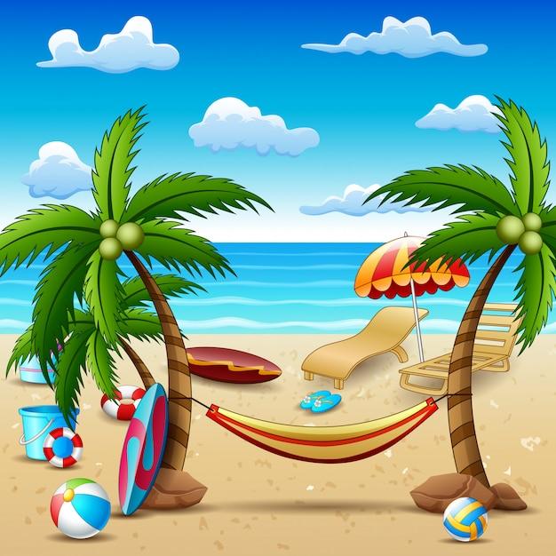 Sommerferienstrand und kokosnussbaumhintergrund Premium Vektoren