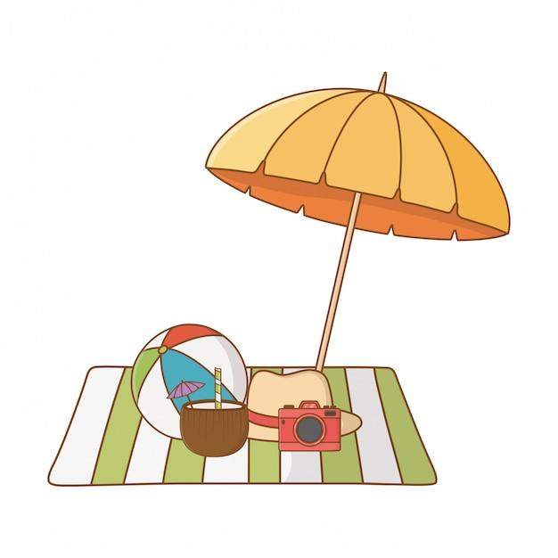 Sommerferienstrand wendet karikatur ein Premium Vektoren