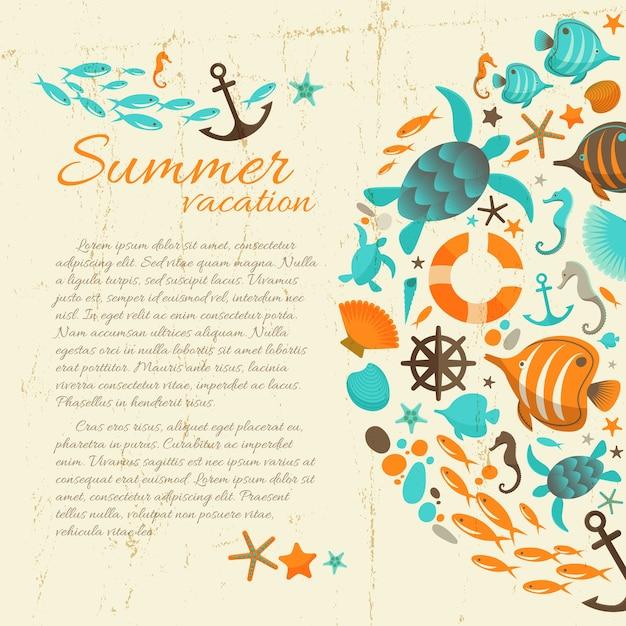 Sommerferientext auf schmutzpapierhintergrund mit bunten meeresillustrationen Kostenlosen Vektoren