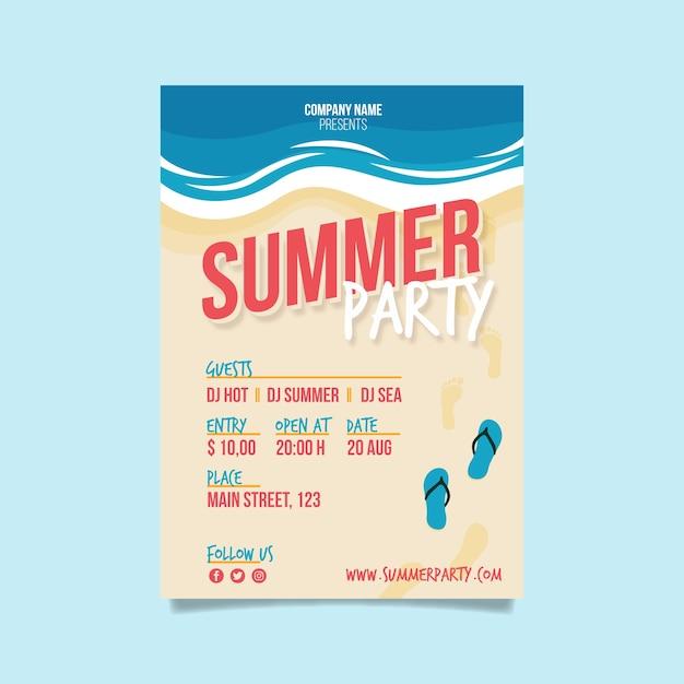 Sommerfest fkyer vorlage im flachen design Kostenlosen Vektoren