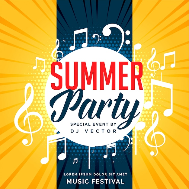 Sommerfest-flyer-design mit musiknoten Kostenlosen Vektoren