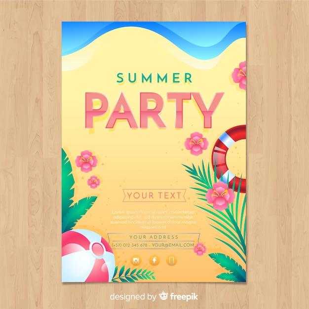 Sommerfest flyer vorlage Kostenlosen Vektoren