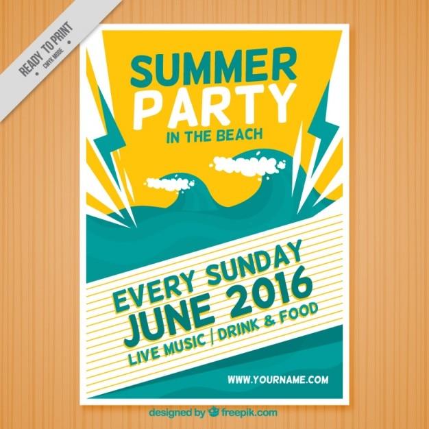 Sommerfest im strand plakat Kostenlosen Vektoren