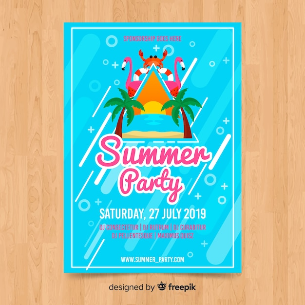 Sommerfest-plakatschablone Kostenlosen Vektoren