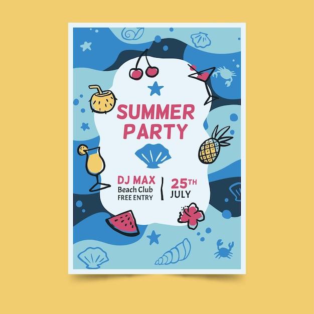 Sommerfest unterwasser design poster Kostenlosen Vektoren