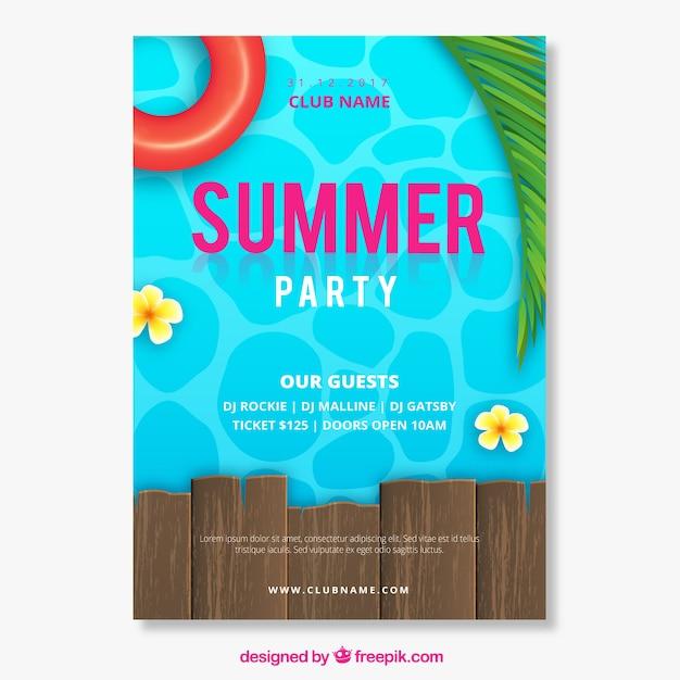 Sommerfesteinladung mit pool in der realistischen art Kostenlosen Vektoren