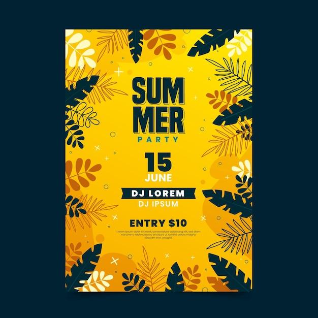Sommerfestplakat mit blättern Kostenlosen Vektoren