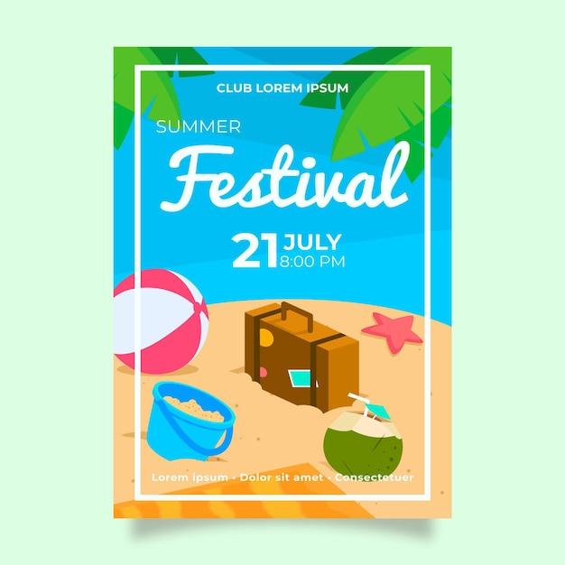 Sommerfestplakatschablone mit wasserball und koffer Kostenlosen Vektoren