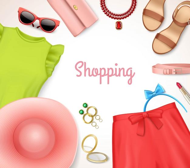 Sommerfrauenkleidungs- und -zubehörrahmeneinkaufsplakat Kostenlosen Vektoren